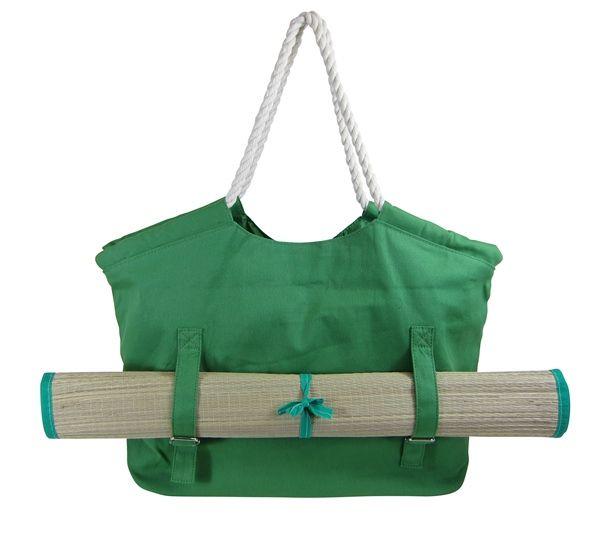 Green Colour Matte Women Beach Bag with Pockets