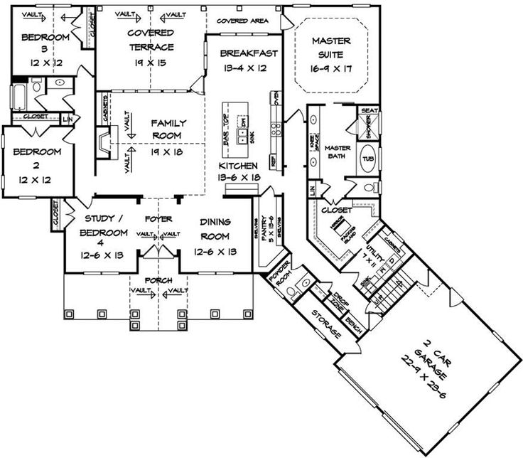 Craftsman House Plan 58254 Level One I Like The Family Room Kitchen Nook Layout For Future Small Master Bedroom Dining And Pantry Are All