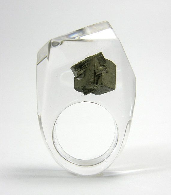 Clear resin ring with pyrite by ruth
