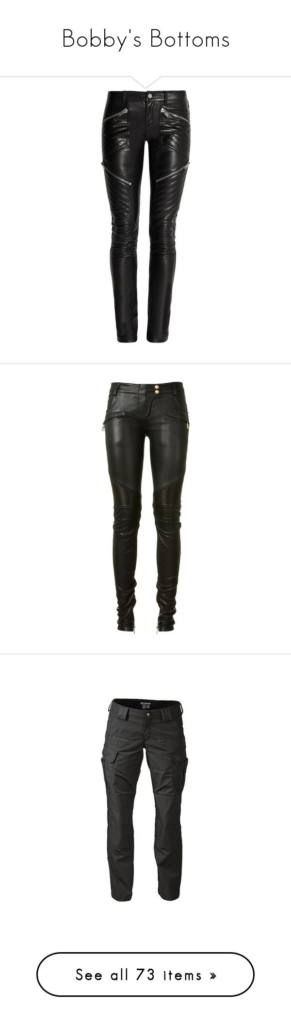 """""""Bobby's Bottoms"""" by ramble-on-my-wayward-cherry-pie ❤ liked on Polyvore featuring pants, bottoms, jeans, trousers, black, skinny pants, stretch pants, stretchy pants, five pocket pants and leather trousers"""