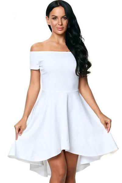 Robe Patineuse Femme Courte Devant Longue Derriere Blanc