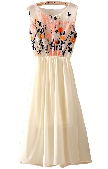 Apricot Sleeveless Embroidery Pleated Chiffon Dress