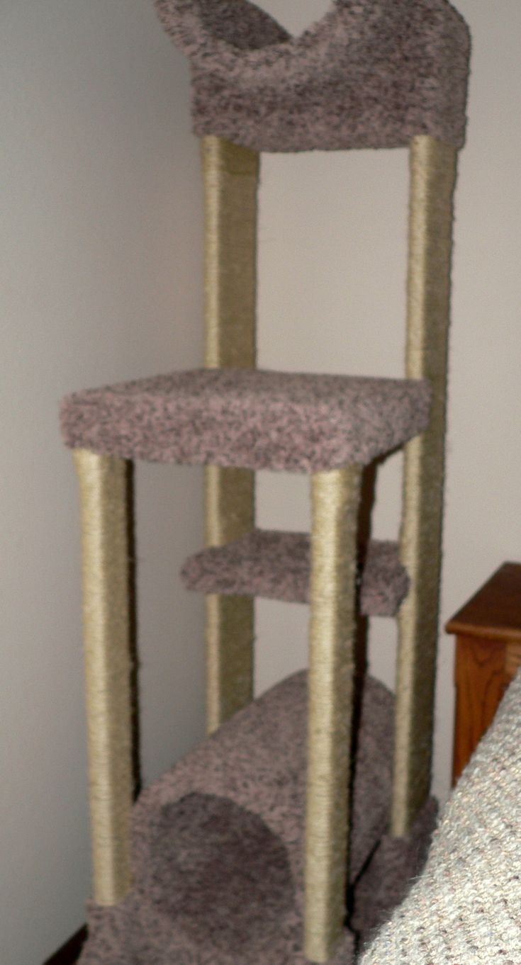 We got a new kitten who, aside from being very active, needed a safe place to get away from the dogs.  My husband and I built the cat tree with thrift store lumber, a round concrete form, remnant carpet, and a ridiculous amount of sisal rope (somewhere around 500 feet of it!).  Thankfully, the kitten loves it and plays on it daily.  Now, if I can just get him to understand that while it's okay to scratch his tree, it's NOT okay to scratch the nearby couch...  (and now, kitten and the ...