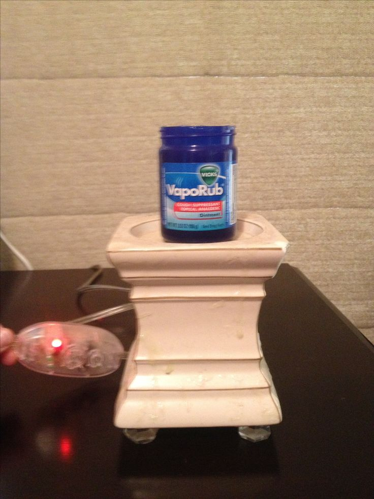 Vicks vapoRub in the gold canyon candle warmer, along with some eucalyptus oil, makes for a better night with a coughing toddler!