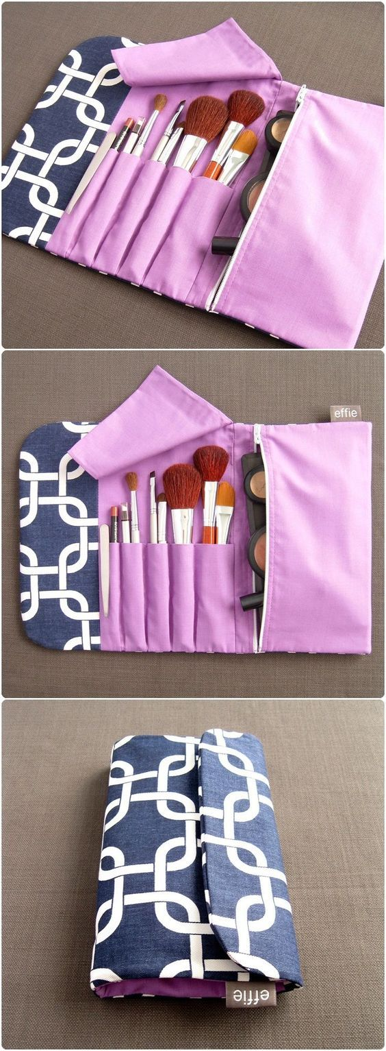 All-in-One Brush Roll & Makeup Bag – Navy with Purple