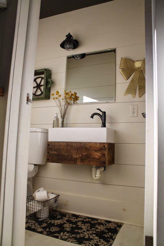 LCM: Powder room, IKEA sink w/Reclaimed Wood