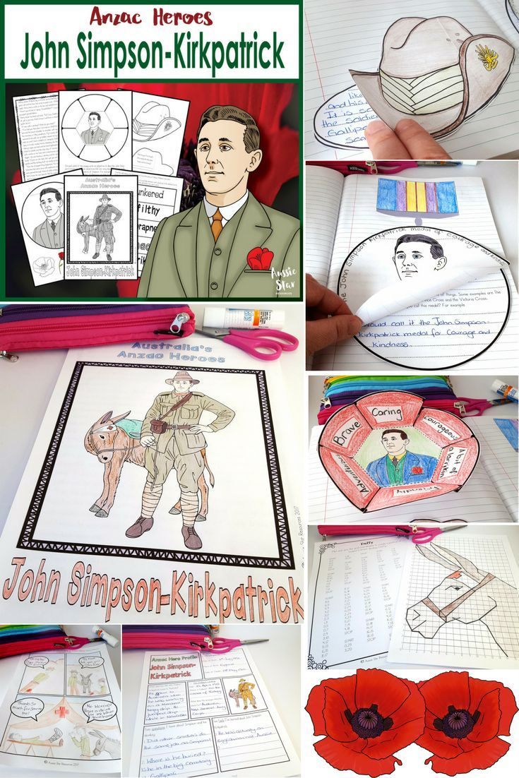 Anzac Day Resources for Upper Primary students.  John Simpson-Kirkpatrick, Simpson and His Donkey. This resources is the perfect complement to your Anzac Day lessons. Designed especially for Grade 5 and 6 students to align with the Australian Curriculum. It contains a great range of hands on activities including comprehension, grid coordinates, a foldable poppy and medal design activity. Check it out in our TPT store now.