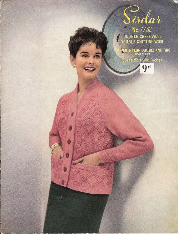 Vintage Knitting Pattern: 1960s Ladies Cardigan / Jacket, Double Knit, 32 - 45 inch chest (PDF Download)