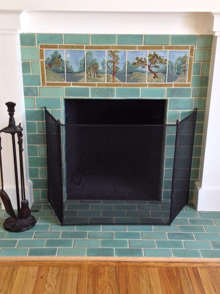 Batch Elder Style Fireplace Tile Green Ceramic Subway