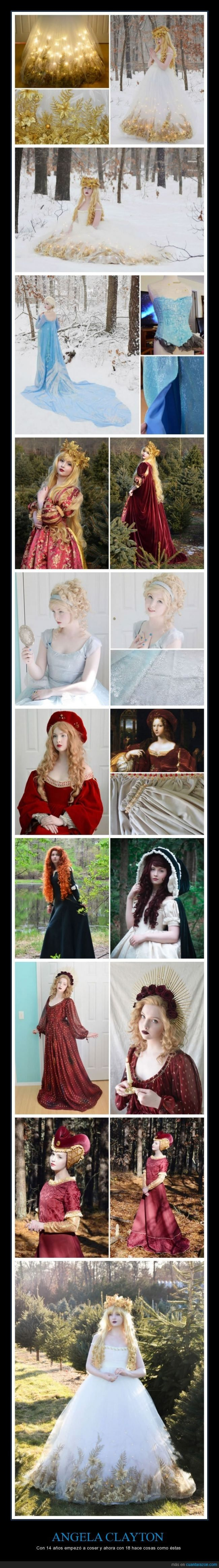 Angela Clayton hace trajes de cuento de hadas ¿adivinas su edad? - Con 14 años empezó a coser y ahora con 18 hace cosas como éstas