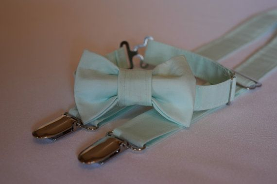Mint green suspenders and bow tie set. Ice by CuppyCakeClothing