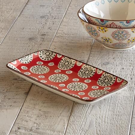 BOHEME SERVING PLATTER - A longtime favorite Sundance offering, ceramic serving platter that celebrates variety being the spice of life with a mismatched medley of medallion and floral patterns and colors.