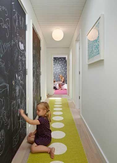 Déco de couloir étroit avec de la peinture ardoise