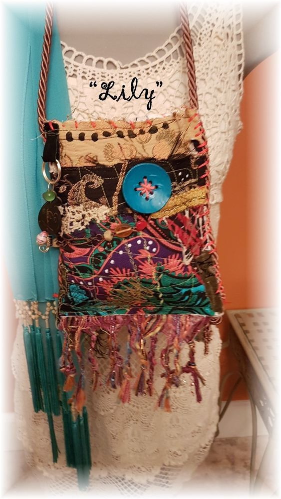 "Hand Made BoHo Bohemian Handbag Original Signed Numbered FAB*BOHO ""LILY"" # 009 #FABBOHO #POUCHCROSSBODY"