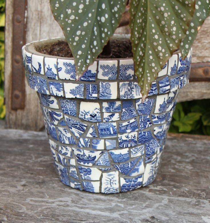 Charming Accessories, : Beautiful Home Accessories And Decoration By Using Light  Blue Mosaic Plant Pot