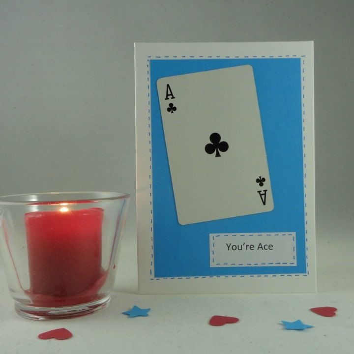 A fun love card based on the Ace of clubs, ideal for all those who play cards.  A white card decorated with a blue background with a playing card Ace of Spades mounted on it. The label reads Youre Ace.  Suitable also for friends, husband, wife, boyfriend or girlfriend, even your Mum!  The card is 6 by 4 (15 cm by 10 cm) and comes with a white envelope. It is blank inside, and comes in a cellophane bag for protection.  Made in a pet free, smoke free home