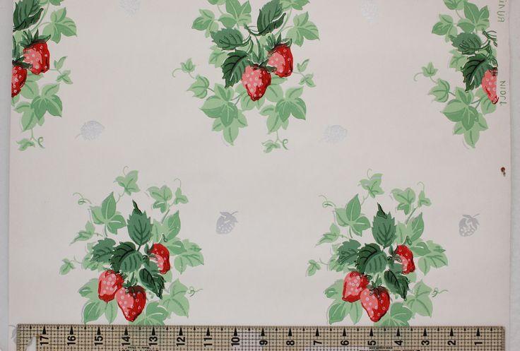Rosie's Vintage Wallpaper - 1940's Vintage Wallpaper Strawberries, $115.00 (http://www.rosiesvintagewallpaper.com/1940s-vintage-wallpaper-strawberries/)