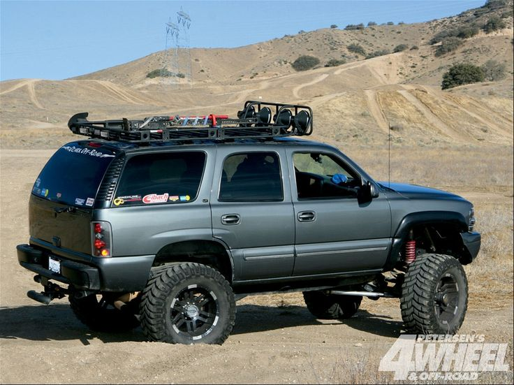 Silver Nicely Outfitted Lifted Jacked Chevy Suv Chevrolet