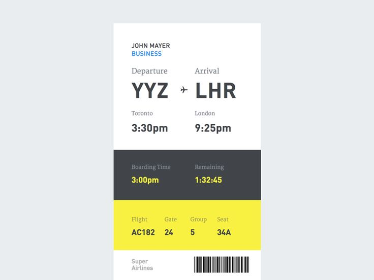 I thought I would continue on this type-heavy style by trying it out on a boarding pass. I tried to make the hierarchy more clear and in order of importance. I know that may differ from person to p...