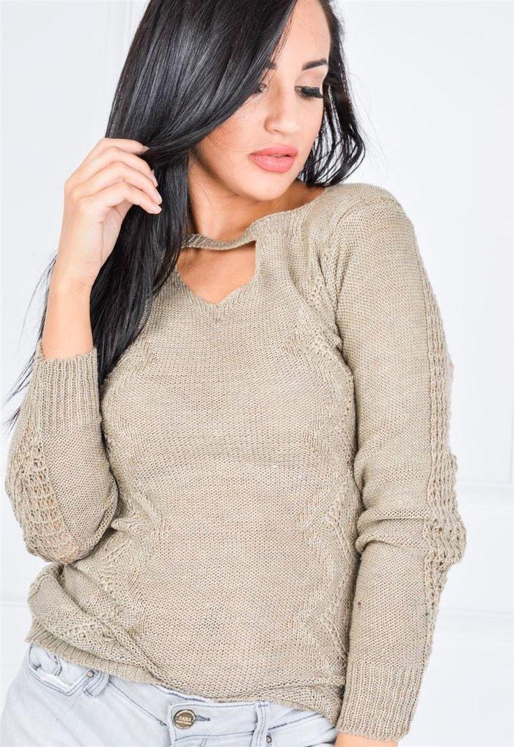 Sweter śliczne sploty łezka wycięcie na dekolcie, Ona Odzież Swetry | Sukienki.shop