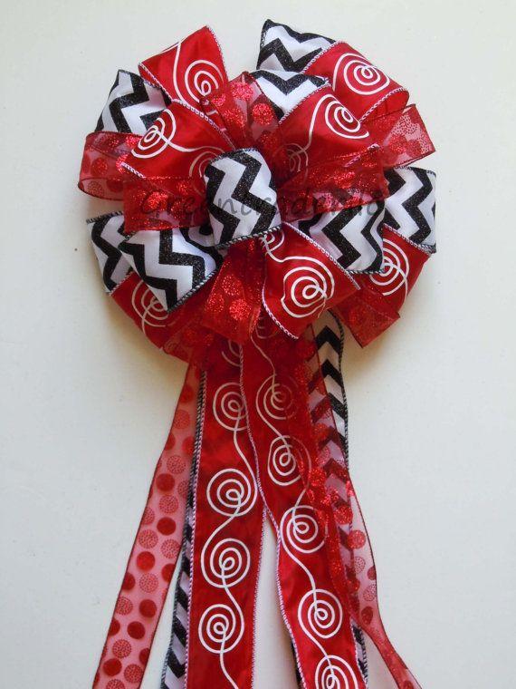 Red Black Christmas Tree Bow Chevron Polka Dots Bow Topper Christmas Tree  Topper Bow Red Black Christmas Bow Wreath Bow Double Bow Topper