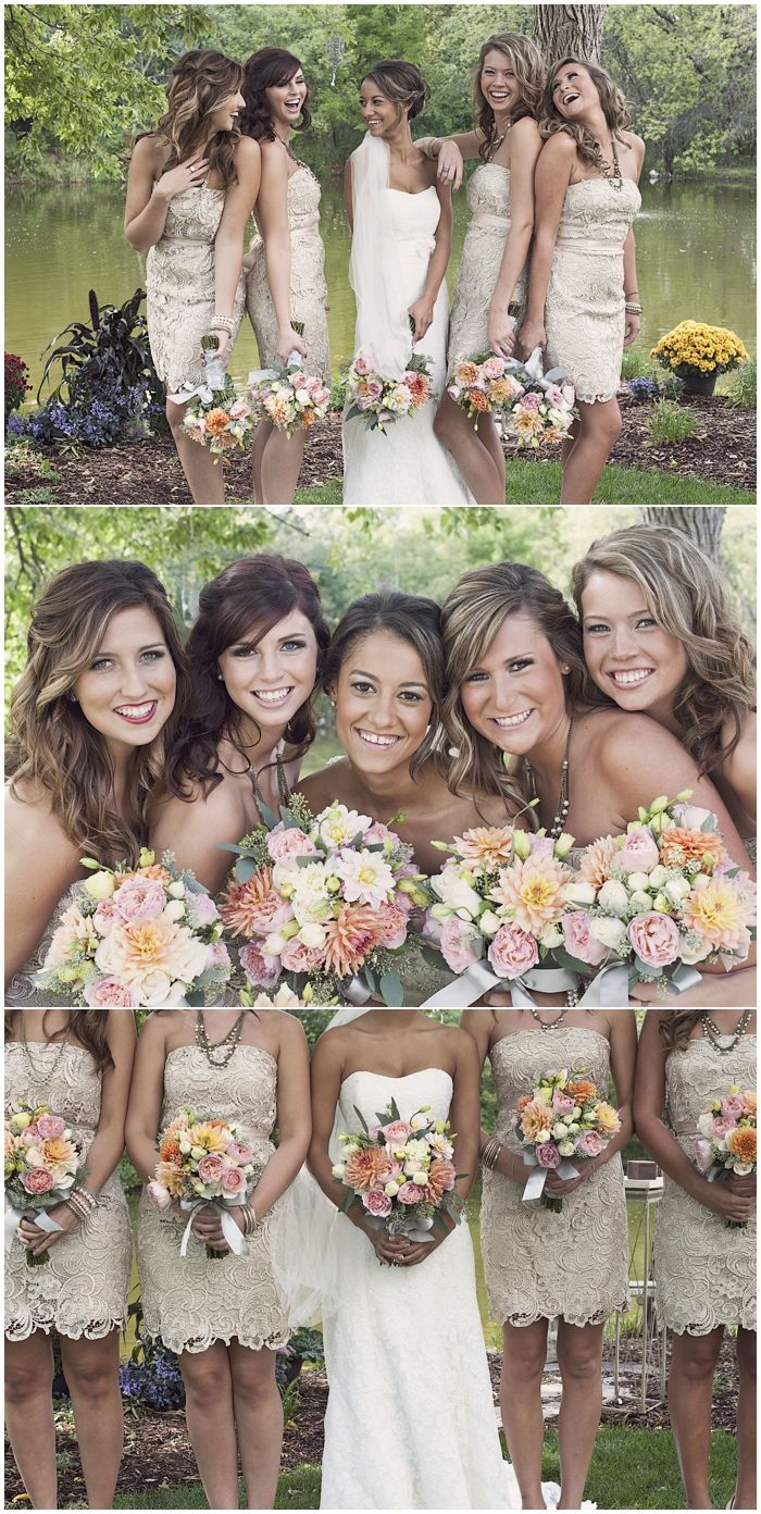 Lace bridemaid dresses and soft, muted color bouquets give this wedding a vintage look.