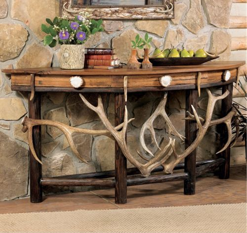 Rustic Lodge Demi Lune Antler Table