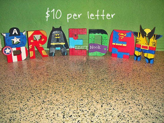 Superhero Character Letter Art by GunnersNook on Etsy, $10.00