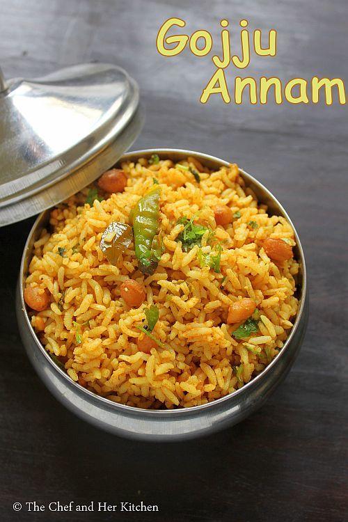 THE CHEF and HER KITCHEN: Gojju Annam | Tamarind Rice using Sambar Powder | Hunasehuli gojju Anna
