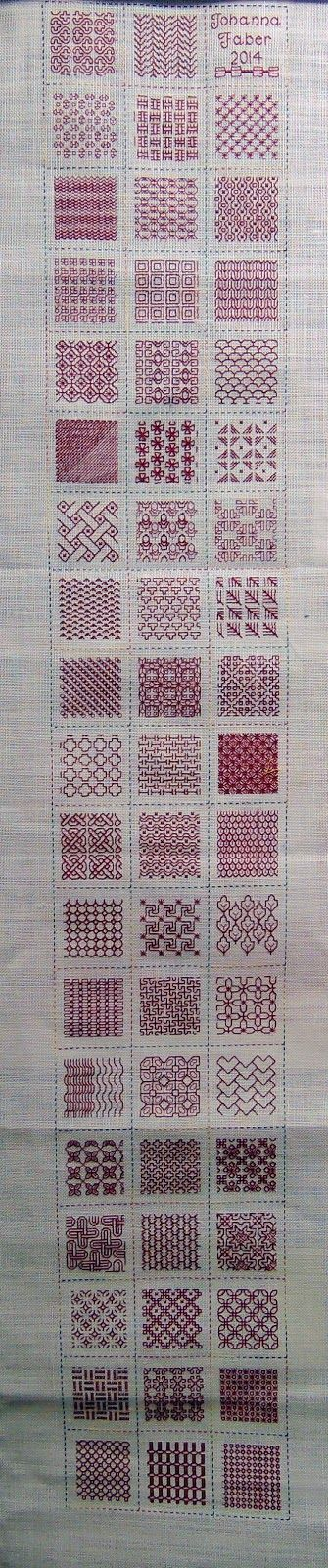 red block stitch sampler
