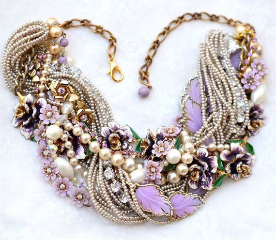 Chunky Pearl Statement Necklace Purple Lavender Eggplant and Champagne Pearl Wedding Jewelry Vintage Rhinestone Flower Leaf Necklace Bridal