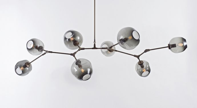 vintage brass and grey bulbs: lindsey adelman