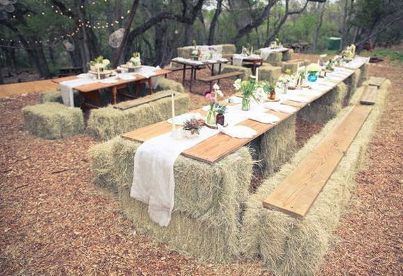 Western and rustic weddings get taken to a new level with the addition of hay bales. Forget renting chairs for your wedding, just call your favorite farmer and ask them to loan you some hay for your big day! I am loving the creative ways hay has been used to form couches, tables, and chairs.  …