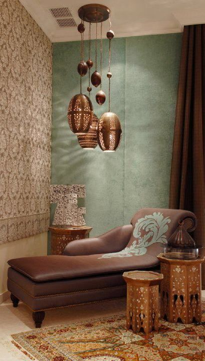 Solid light and dark walls in the room for some contrast against a metallic pattern wall! I love