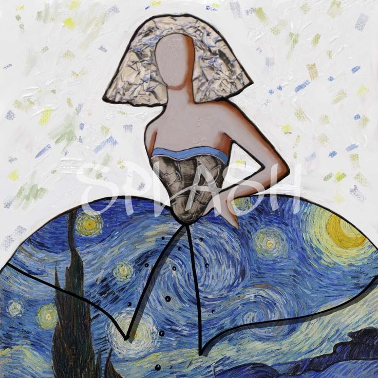 Cuadro Menina moderna van Gogh SP396