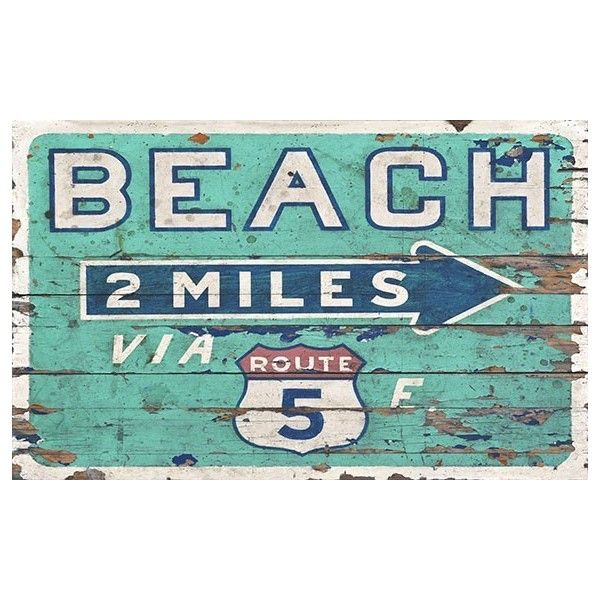 Vintage Beach Direction Sign ❤ liked on Polyvore featuring home, home decor, wall art, beach wall art, beach home accessories, reclaimed wood panels, vintage home decor and word wall art