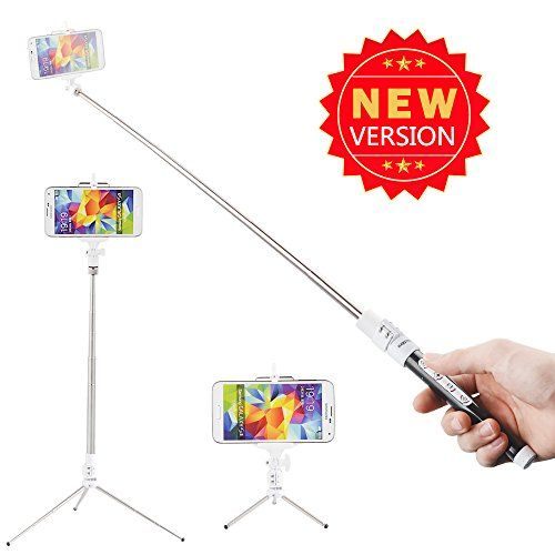 Kootek® Extendable Wireless Bluetooth Monopod Selfie Stick Self Portrait Video Built-in Remote Shutter Button With Tripod Stand and Zoom In/ Out Button