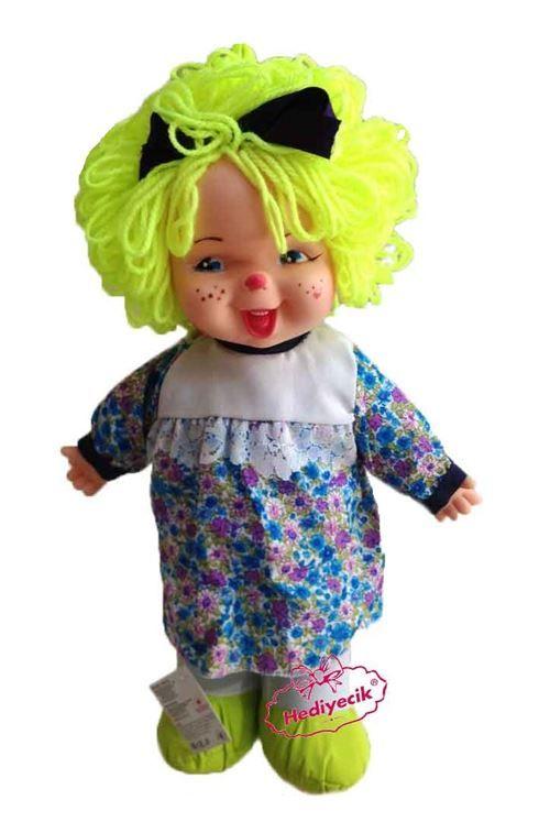 Oyuncak Lahana Bebek Gülen Yüzlü Renkli Saçlı 45cm