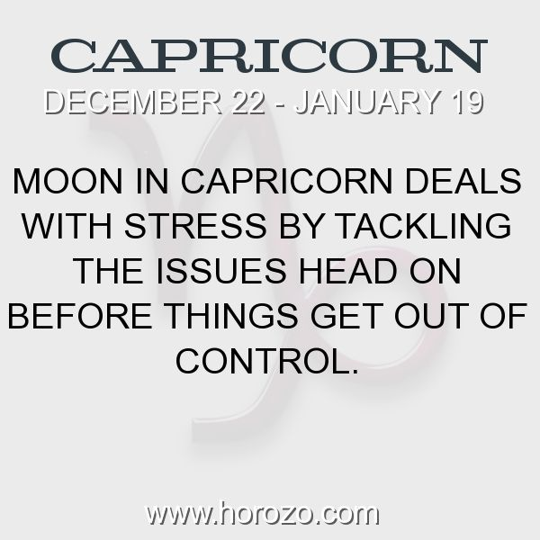 Fact about Capricorn: Moon in Capricorn deals with stress by tackling the... #capricorn, #capricornfact, #zodiac. More info here: https://www.horozo.com/blog/moon-in-capricorn-deals-with-stress-by-tackling-the/ Astrology dating site: https://www.horozo.com