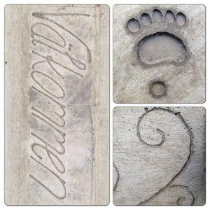 DIY - use a glue gun and playdough to make patterns in concrete.