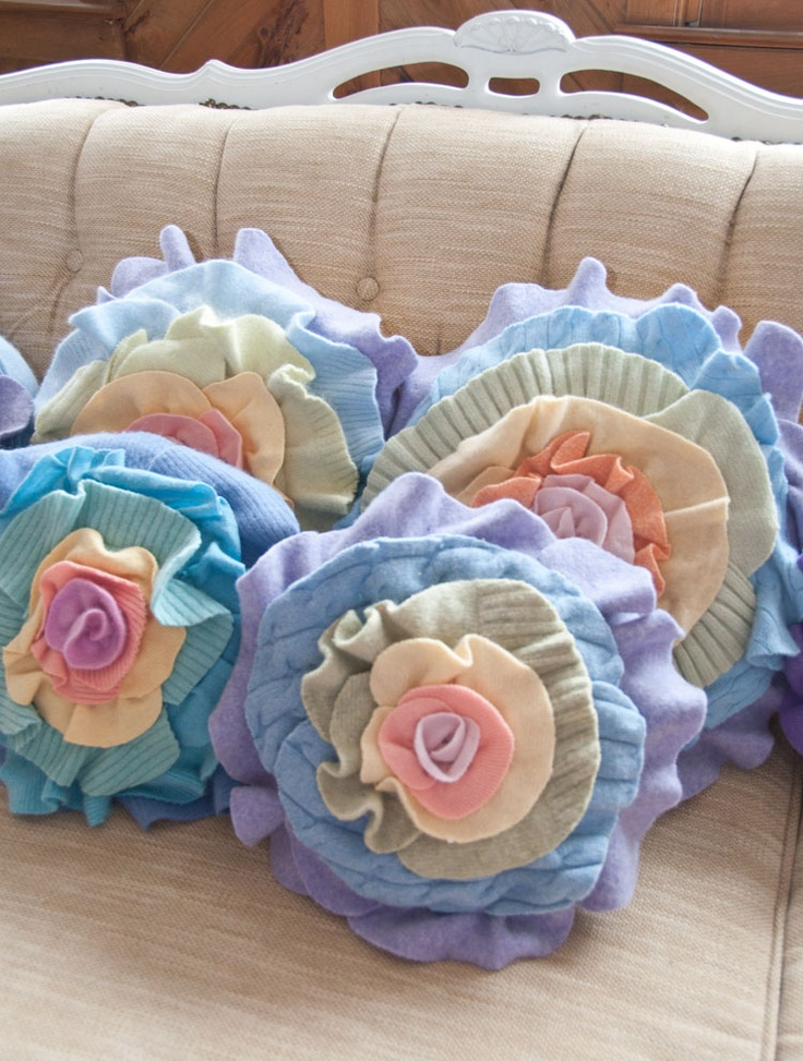 Pastel Rainbow Pillows handmade from recycled sweaters