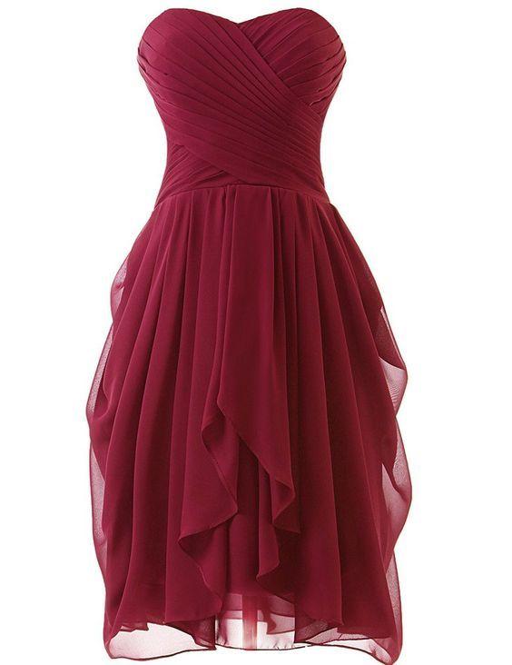 Short Burgundy Prom Dresses, Burgundy Bridesmaid Dresses