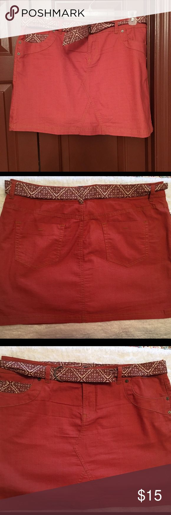 Sonoma Belted Skort Sonoma coral skort, belted  with pockets, in great condition, size 16 Sonoma Shorts Skorts
