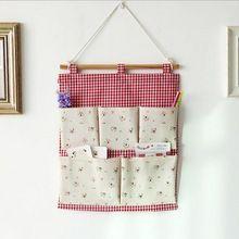 1 unids colgar bolsas de almacenamiento de pared de bolsillo organizador tela de algodón Toy organizador lío No más almacenamiento colgante puerta 0458(China (Mainland))