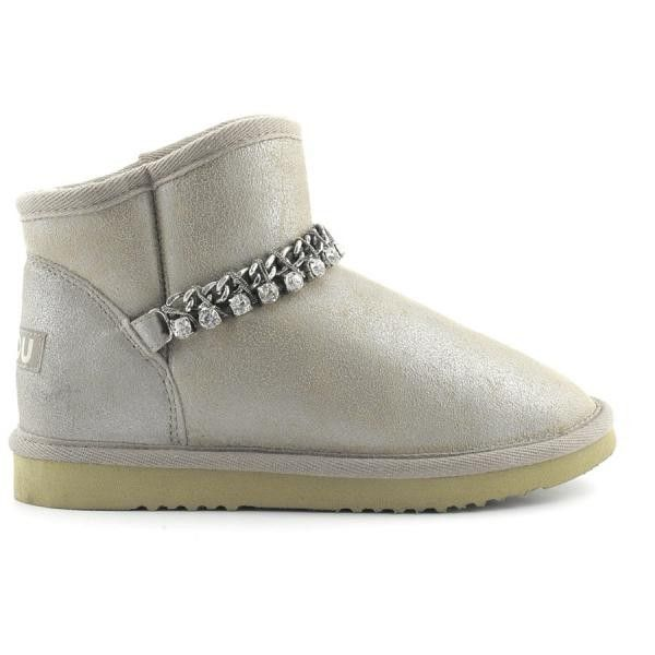 Mou Short Jewel Cowboy Boots Stone Metallic - MOU