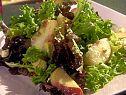 Mixed Green Salad with Diced Avocado, Peaches, Crispy Bacon, Feta Cheese and Champagne Vinaigrette Recipe