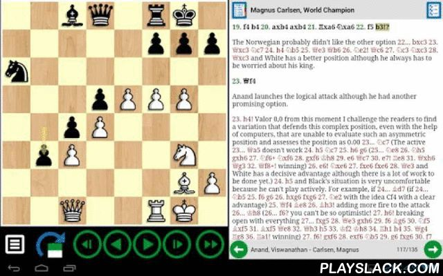 "Chess Apps Books  Android App - playslack.com , BOOKS COME TO LIFE WITH CHESSAPPS ""ChessApps Books"" is a free chess books reader. No matter what is your level of play, you will certainly like to have a board handy when trying to follow a chess game or reading an article, don't you? Chessapps offers you an interactive chessboard that is automatically synchronized with the text of the book, and follows it as you read. PLAY. - Solve positions: set the time and play over the moves provided by…"