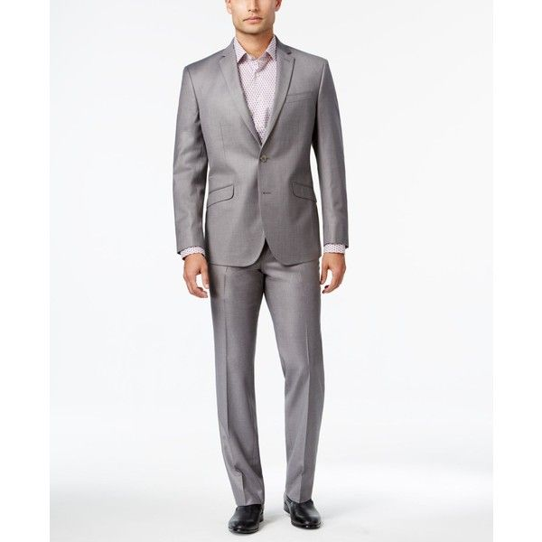 Kenneth Cole Reaction Men's Slim-Fit Micro-Check Suit ($100) via Polyvore featuring men's fashion, men's clothing, men's suits, light gray, mens slim fit suits, mens slim suits, mens suits, mens clothing and mens light grey suit