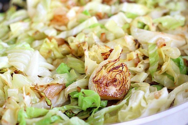 Sauteed Cabbage - had this for dinner tonight & it was delicious!  I halved the recipe since I was cooking for one & didn't do the steps to add butter.  Added shredded chicken at the end.  Perfect!