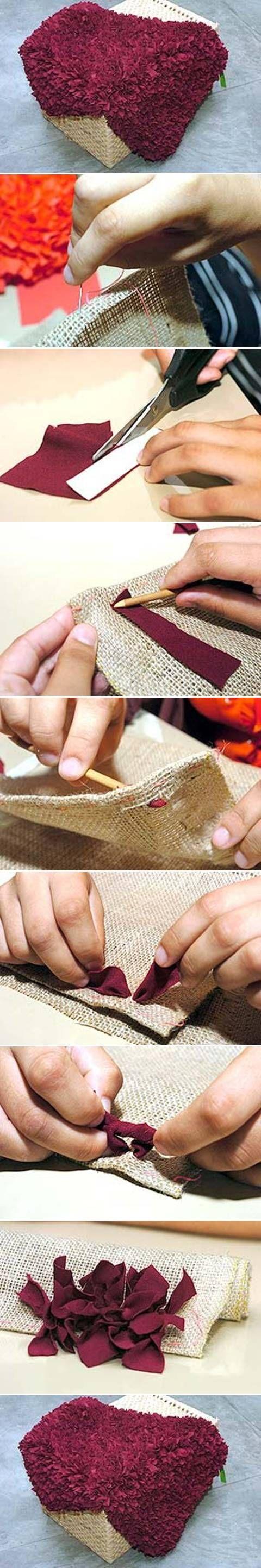DIY Scrap Fabric Rug retalho de pano tapete